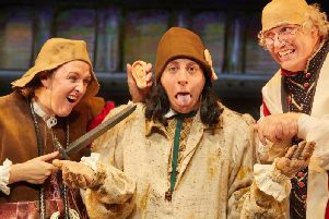 Lisa Allen, Izaak Cainer and Simon Nock in a scene from Horrible Histories: Terrible Tudors