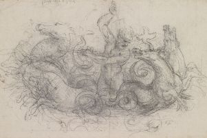 Neptune, c.1504-5, one of almost 150 drawings by Leonardo da Vinci will go on display in simultaneous exhibitions around the UK to mark the 500th anniversary of the Renaissance master's death. Credit: Royal Collection Trust/PA Wire