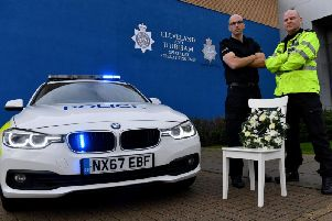 Durham County Police Inspector Jon Malcolm (left) and Cleveland County Police inspector Darren Breslin at the launch of the 2018 Drink and Drive Campaign.