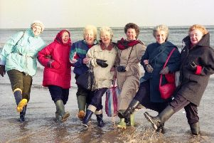 Ladies from the Women's Institute from the Tyne and Wear South Federation took part in a sponsored plodge at Seaburn in January 1992.