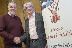 New president Geoff Miller (left) with Neil Swanwick, chairman of the Friends of Queen's Park Cricket group.