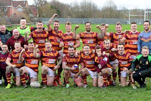 Dewsbury Moor celebrate their Challenge Cup victory over Skirlaugh last Saturday. Picture Paul Butterfield