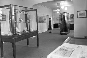 Inside Grindon Library in 1955.
