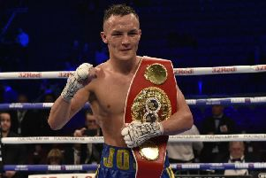 Josh Warrington with his IBF belt after beating Carl Frampton in December.