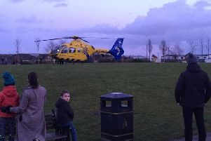 An air ambulance was also called to assist with helping the young girl