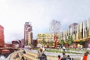 An artist's impression of what the area around Leeds station could look like.