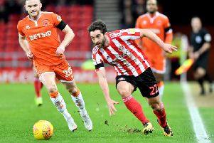 Will Grigg in action for Sunderland against Blackpool