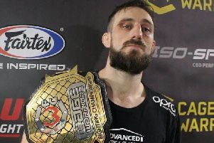 Dean Trueman with his belt in Cardiff. Photo/MMA