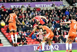 Jack Baldwin scores from a corner in the 1-1 draw with Blackpool.