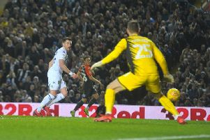 DOUBLING THE LEAD: Jack Harrison puts Leeds United 2-0 up against Swansea City. Picture by Tony Johnson.