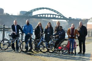 St Peters Cycle and Sports Hub receives national recognition. From left University of Sunderland Kevin Ludlow, Cycle UK Andrew Thorp, Coun Amy Wilson, Student Union Rebecca Little, Go Smarter Diane Hilder, Student Union Bryan Pepple, Hub manager Richy Duggan and Coun Barry Curran