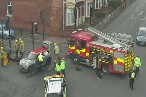 Emergency services on the scene of the accident at the A183 junction outside Sunderland Royal Hospital. Pic: North East Live Traffic.