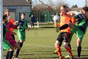 Clay Cross striker Ant Lynam is denied a goal by the toe of Bentley's Callum Taylor.