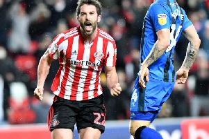 Will Grigg celebrates his first Sunderland goal against Gillingham