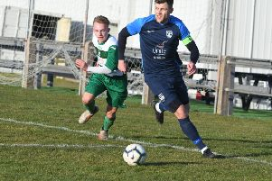 Washington (blue) v Birtley Town (green/white) at Nissan Sports Club on Saturday.