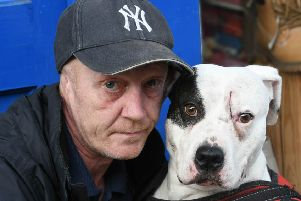 Gary Nichols with his dog Narni, which was stabbed.