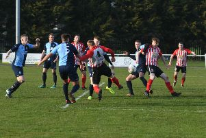 Sunderland RCA (red/white) v Bishop Auckland (blue) at Meadow Park, Ryhope on Saturday.