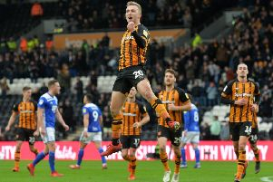 Jarrod Bowen celebrates scoring his second goal this time from the spot.  Picture Bruce Rollinson