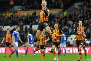 On target: Jarrod Bowen celebrates scoring his second goal from the spot. Picture: Bruce Rollinson