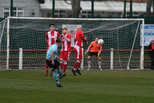Seaham Red Star (red/white) v North Shields (blue) at Seaham Town Park, on Saturday.