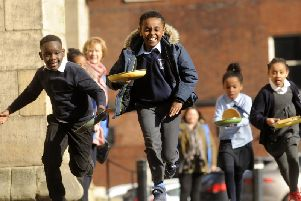 Pancake races at Leeds Minster. Picture by Simon Hulme