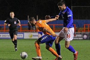 Picture by Gareth Williams/AHPIX.com; Football; Vanarama National League; Braintree Town v Chesterfield FC; 5/3/2019 KO 19.45; The Ironmongery Direct Stadium; copyright picture; Howard Roe/AHPIX.com; Spireites' Ellis Chapman takes on Braintree's Andrew Eleftheriou