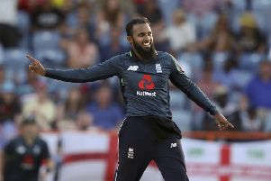 TOP MAN: England's Adil Rashid celebrates taking the wicket of West Indies' Oshane Thomas at St. George's, Grenada. Picture: AP/Ricardo Mazalan)