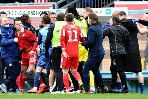 George Honeyman was sent off after the melee at Wycombe Wanderers.