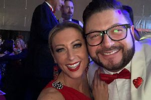 Red Sky Ball ambassador Faye Tozer with Sergio Petrucci.