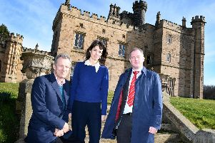 The Earl and Countess of Durham, with Miller Homes North Easts regional managing director Patrick Arkle in front of Lambton Castle