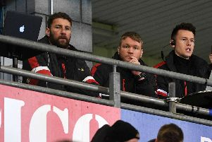 Grant McCann and Paul Gerrard watched the clash with Barnsley from the stands as they served touchline bans