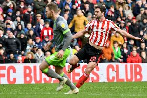 Will Grigg scores the winning goal in Sunderland's 2-1 win over Walsall at the Stadium of Light.