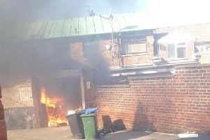 Fire at the rear of a shop in Edenhill Road, Peterlee. Image: John Dawes.