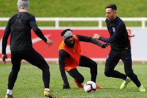 Dwight McNeil beats Danny Rose in England training