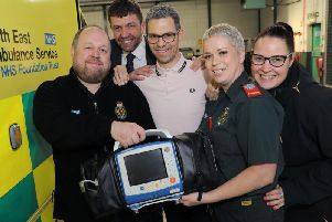 Call handler Gary Mayne, bystander Damon Devine, patient Raymond Honour, rapid response paramedic Clare Edmonds and other bystander Heather Huntley.