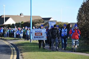 March for Leave sets off from Seaton Carew, Hartlepool, on the second day of the march to London.