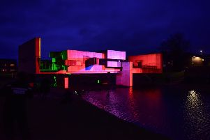 Illuminated Apollo Pavilion in Peterlee tonight.