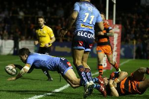 Louie McCarthy-Scarsbrook scores against Castleford
