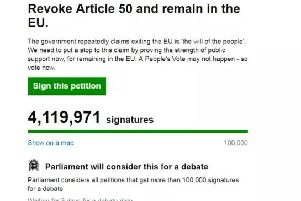 The Revoke Article 50 petition has now hit more than 4 million signatures