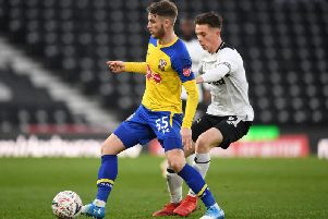 Max Bird (right) in action against Southampton.