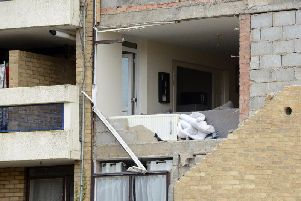 The damage caused to Collingwood Court in the suspected gas explosion.