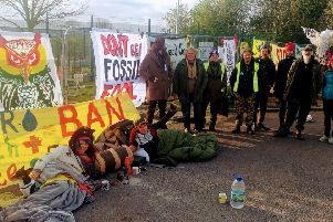 Anti-fracking protesters at the Misson Springs site on April Fool's Day.