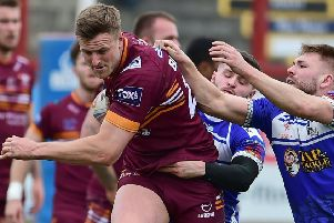 Paul Brearley makes a strong run during Batley's 62-6 Challenge Cup victory over plucky Castleford  amateurs Lock Lane last Sunday. Picture: Paul Butterfield
