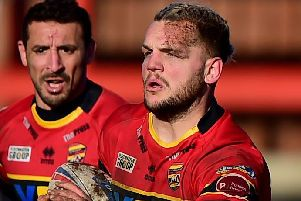 Kyle Trout opened the try scoring for Dewsbury at Bradford Bulls. PIC: Paul Butterfield