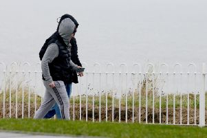 Walkers braving the cold weather at Seaburn.