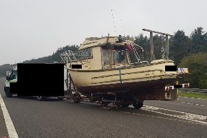A boat was stranded on the A194M southbound earlier today.'Image by Highways England.