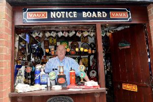 Richie Morgan in his bar in the back garden of his Sunderland home.