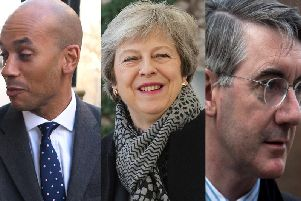 2nd referendum: From left, Chuka Umunna is for, Theresa May is against, and Jacob Rees Mogg is very against