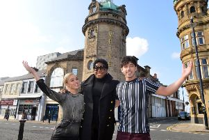 Fame the Misical at the Sunderland Empire. Cast from left Jorgie Porter as Iris Kelly, Mica Paris as Miss Sherman and Keith Jack as Nick Piazza