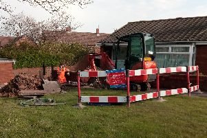 Northumbrian Water on site at Phoenix Road, Pennywell, Sunderland, where a water main has burst.